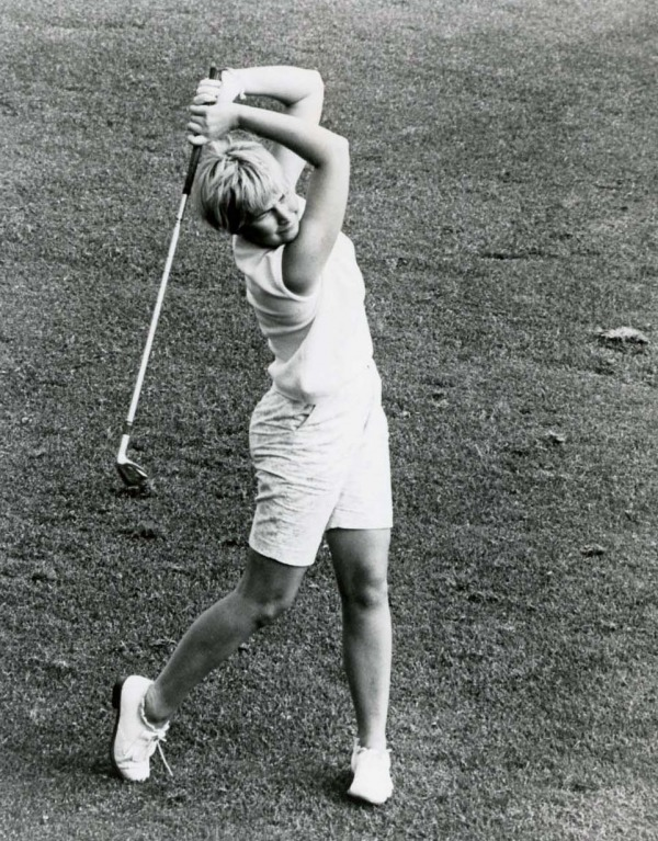 photograph of Sandra Post swinging golf club