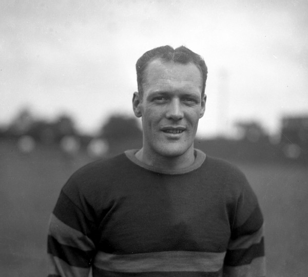 Photograph of Hawley 'Huck' Welch in striped jersey