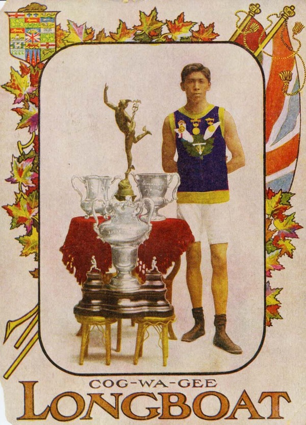photograph of Tom Longboat/COG-WA-GEE with trophies