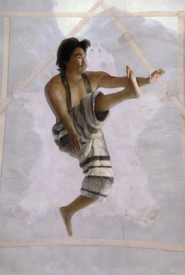 Artists colour drawing of one-foot high kick