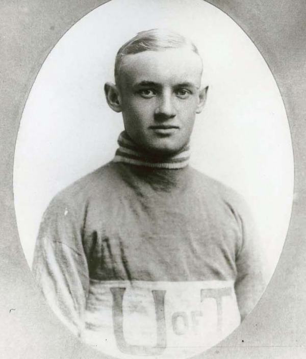 Photograph of Conn Smythe wearing hockey sweater