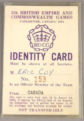 Eric Coy's  Identification card with Games logo