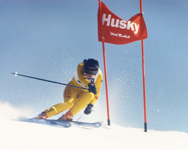 photograph of Gerry Sorenson skiing downhill