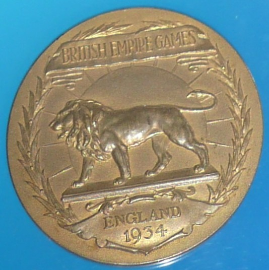 gold medal with lion British Empire Games England 1934