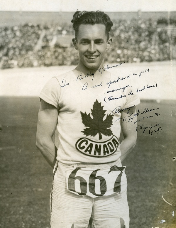 Photograph of Percy Williams wearing Canadian track singlet