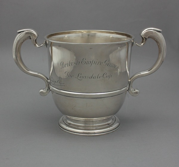 Silver cup with two handles engraved British Empire Games, The Lonsdale Cup.