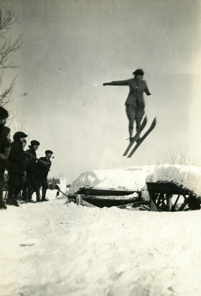 Image of Isabel Coursier on famous ski hill in Revelstoke 1922