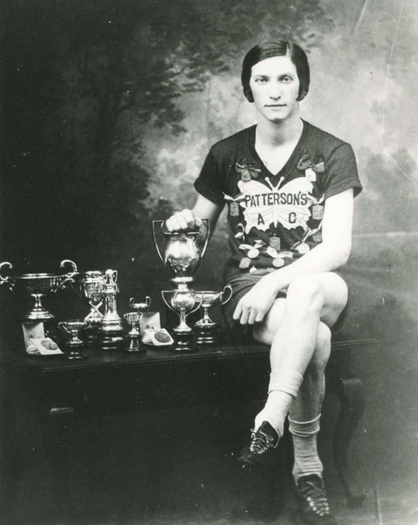photograph of Bobbie Rosenfeld with trophies