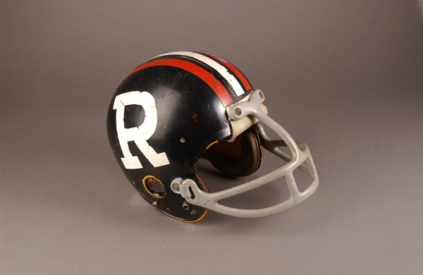 Tony Gabriel's football helmet with 'R' on side