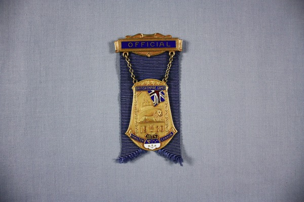 Gold and enamel badge on a blue ribbon