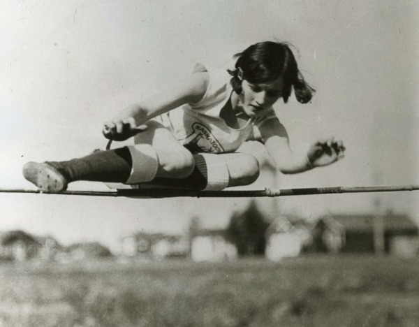 photograph of Ethel Catherwood competing in high jump