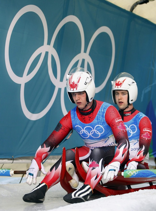 photograph of Chris and Mike Moffat at luge start