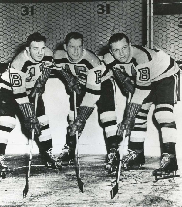 photograph of Milt Schmidt, Woody Dumart and Bobby Bauer