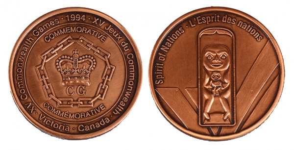 Bronze participation medal with Spirit of Nations design