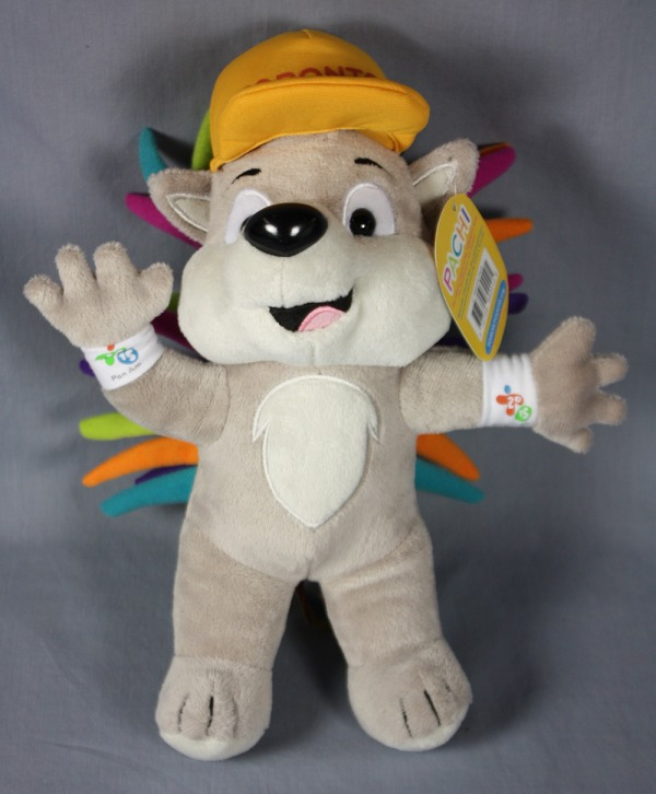 toy porcupine with coloured quills and orange hat