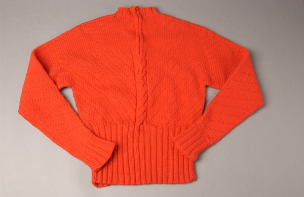 red wool hand knit pullover sweater