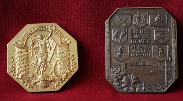 two hexagonal medals British Empire Games 1938