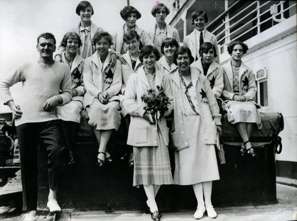 photograph of 1928 women's Olympic team on board a ship