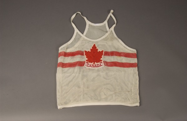 white mesh race singlet with maple leaf and CANADA