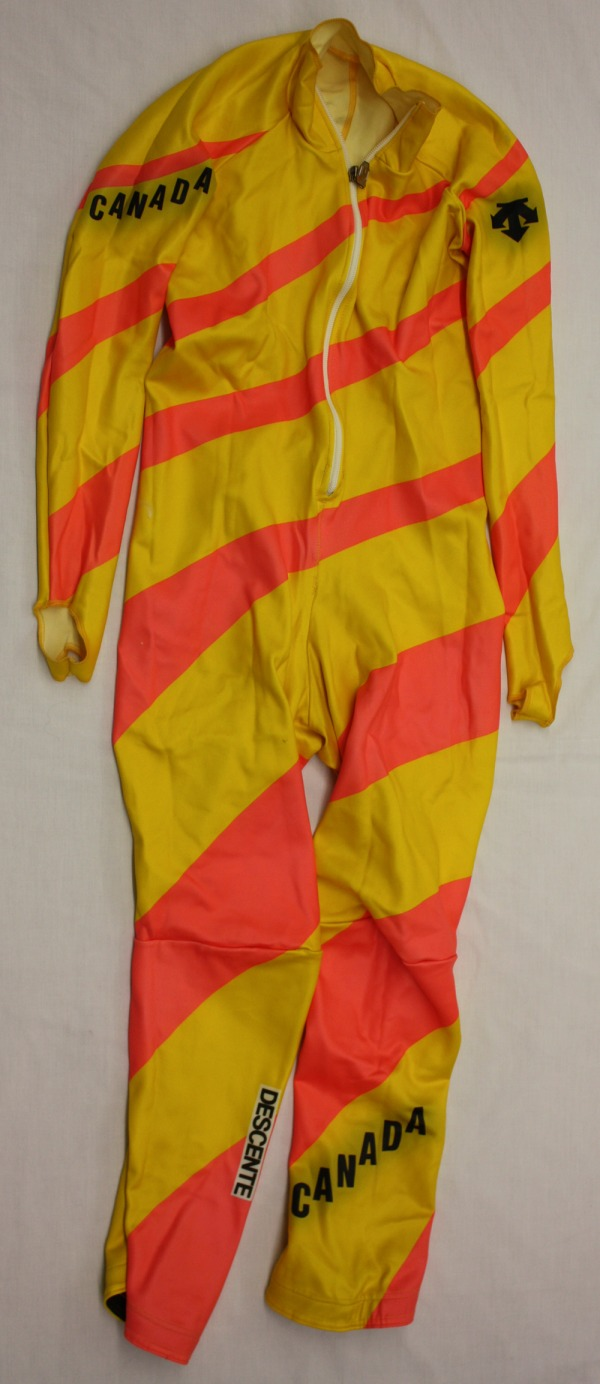 yellow ski race suit
