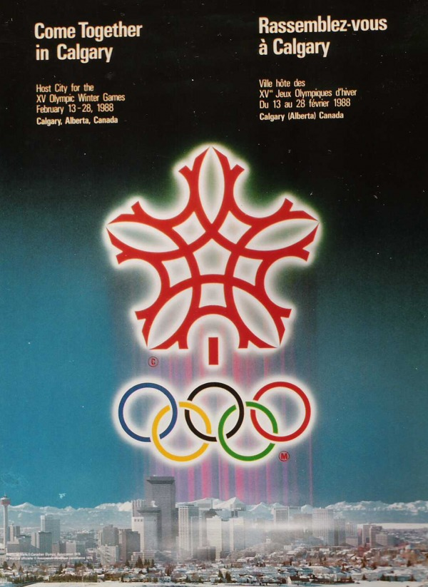host city poster with red snowflake logo against city background