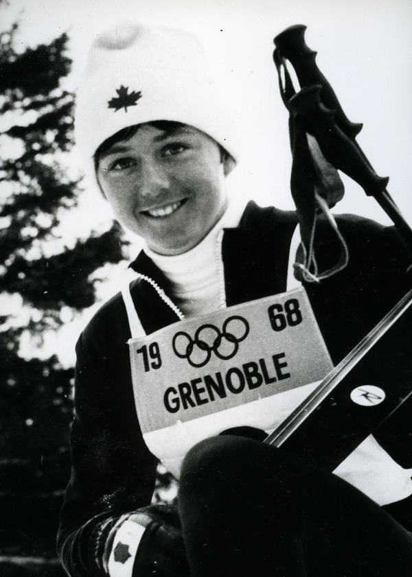 photograph of Nancy Greene wearing 1968 Grenoble ski bib