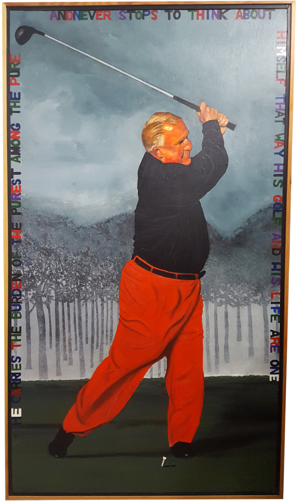 Oil on wood painting of Moe Norman swinging a golf club