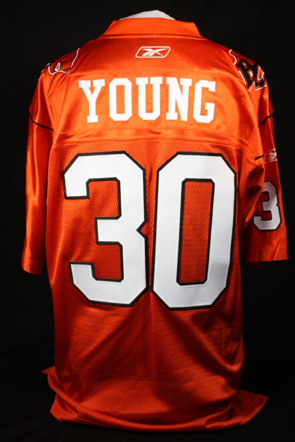 Jim Young's B.C. Lions football jersey #30