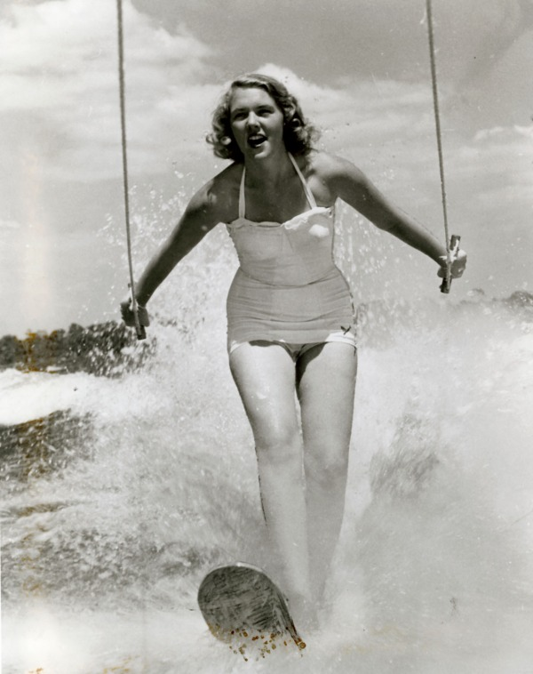 photograph of Carol Ann Duthie on water skis