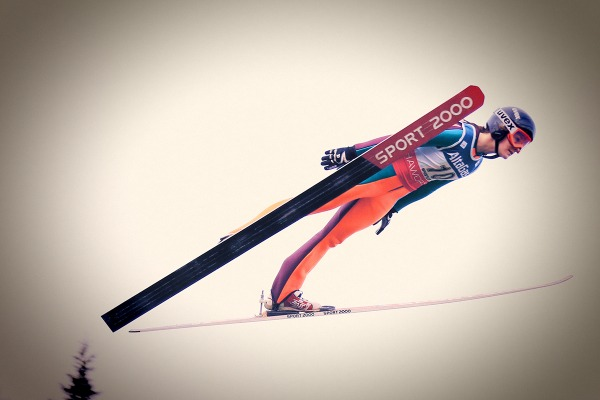 photograph of Taylor Henrich ski jumping
