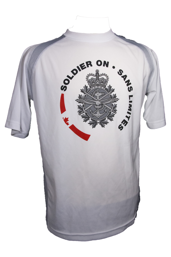 white T-shirt with logo for Soldier On Program