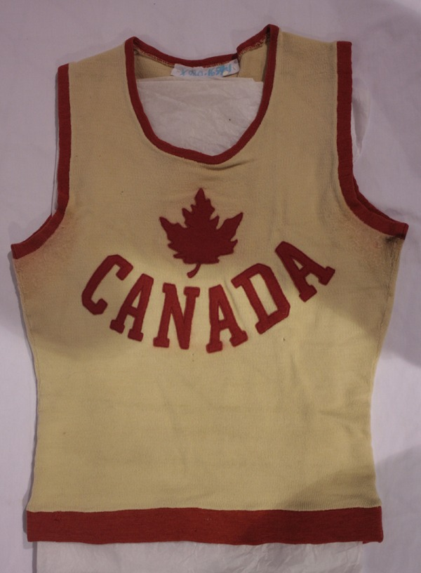Edmonton Grads tunic with maple leaf crest and CANADA on the front