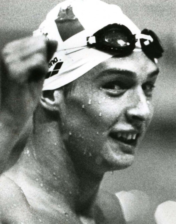 photograph of Alex Baumann wearing swim cap