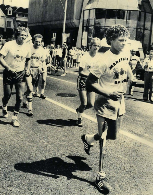 photograph of Terry Fox running with people