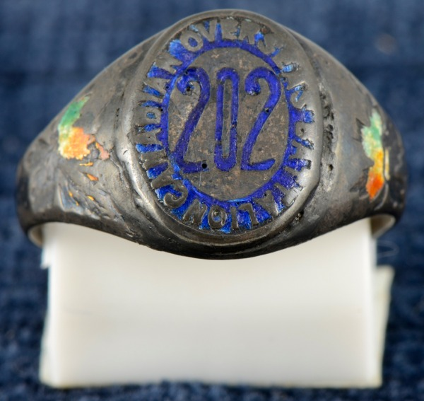 Silver ring with blue 202