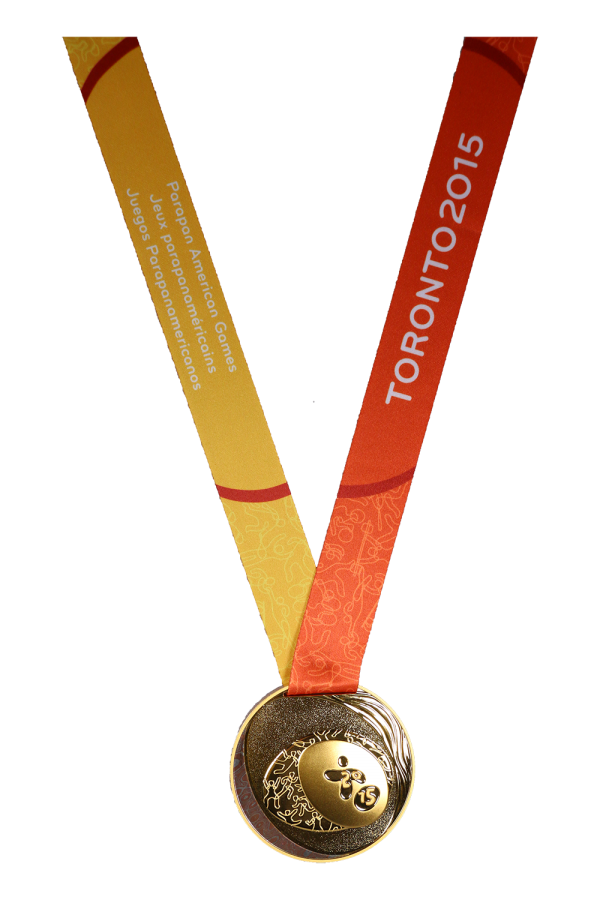 gold medal with Games logo on yellow and orange ribbon