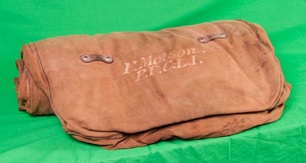rolled sleeping bag of Percy Molson from World War One