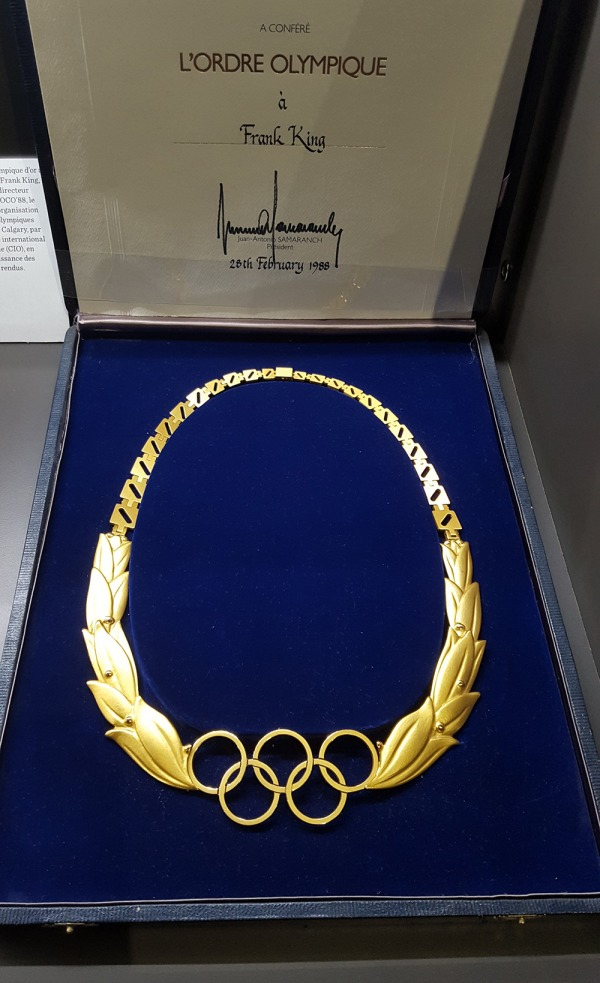 gold Olympic Order necklace in case