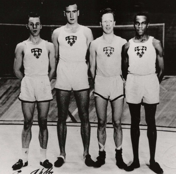 photograph of Phil Edwards on far right with members McGill track team