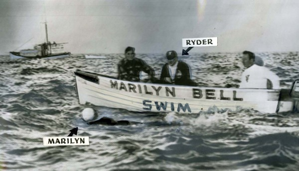 photograph of boat with Marilyn Bell in water