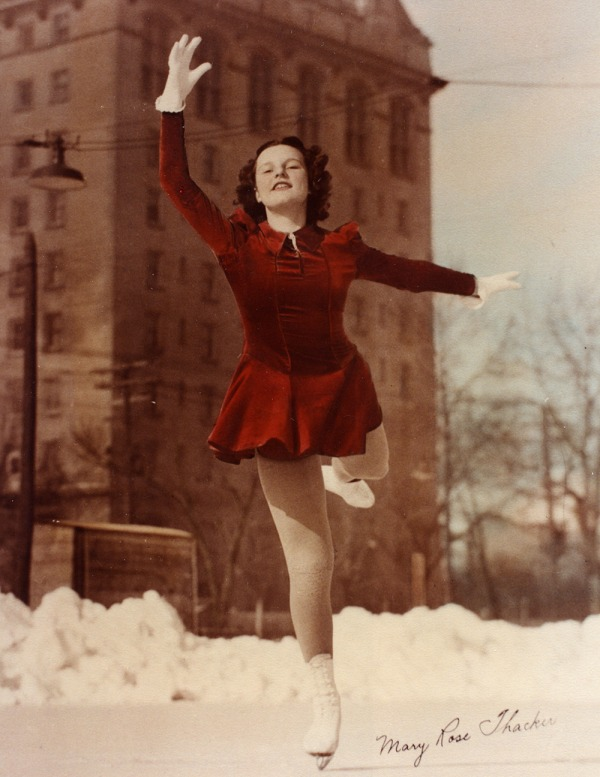 photograph of Mary Rose Temple Thacker skating in red dress