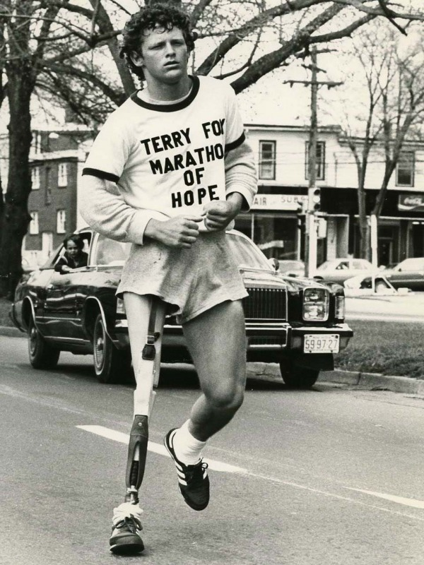 photograph of Terry Fox running by himself