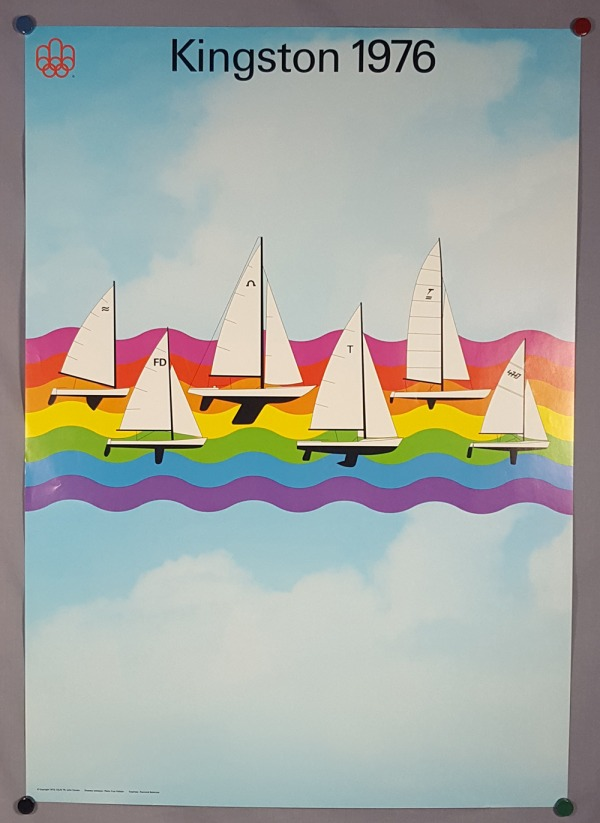 poster with six sail boats on multicolour wave