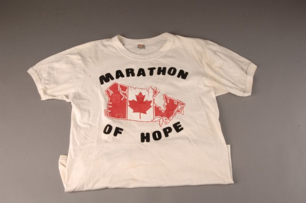 white T-shirt with map of Canada and MARATHON OF HOPE worn by Terry Fox