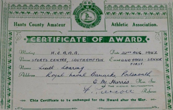 certificate of award to Lieutenant Loaring for 440 yards - Senior First event, 22nd Aug. 1942