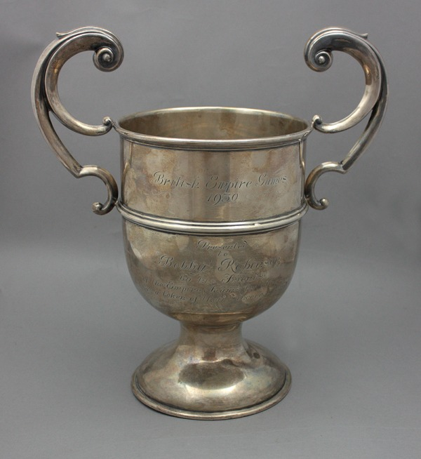 Silver cup with two handles engraved British Empire Games 1930