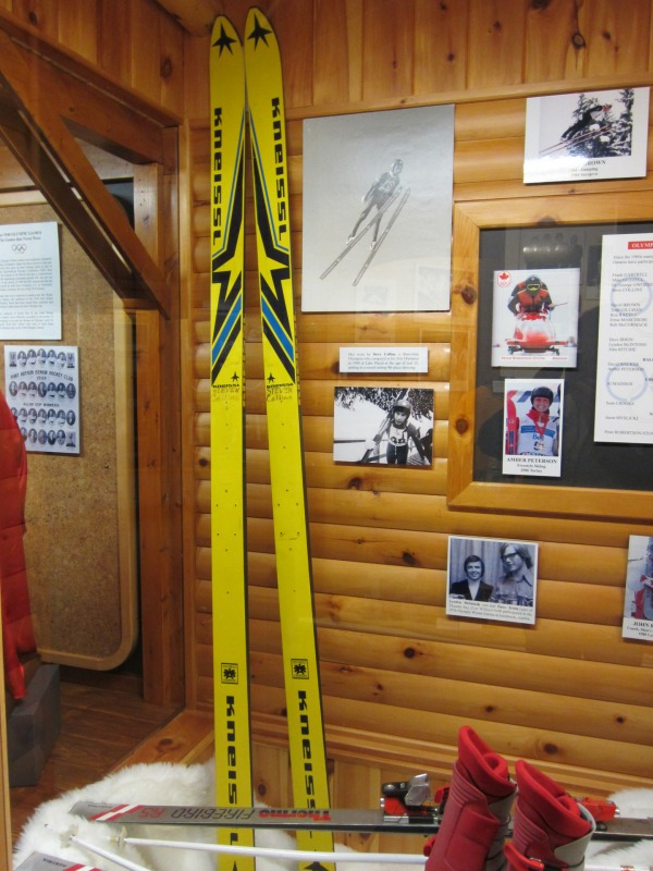 photograph of jumping skis on exhibit