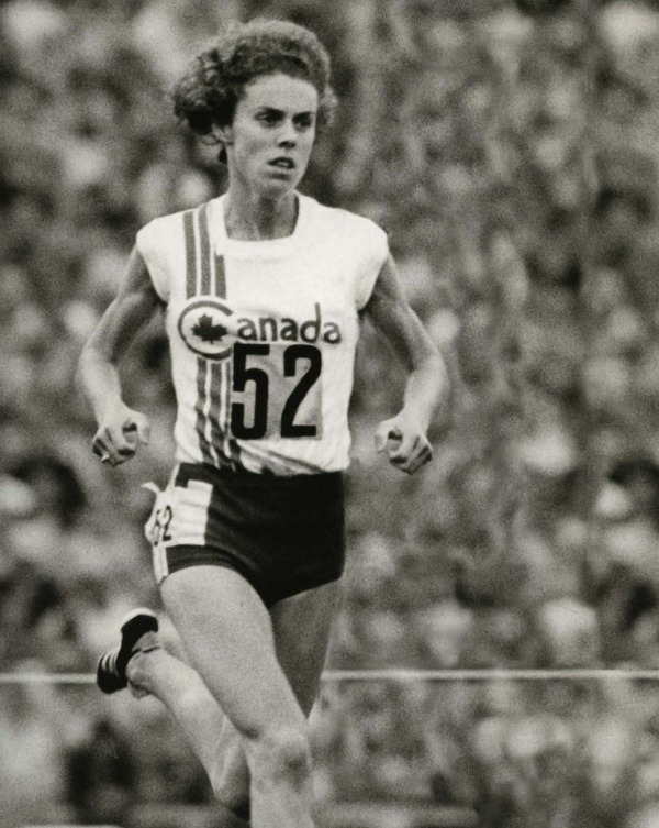 photograph of Abby Hoffman running at 1976 Olympic Games