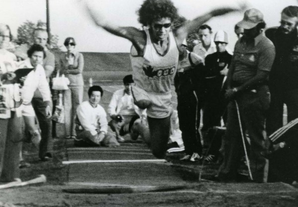 Photograph of Arnold Boldt in long jump event