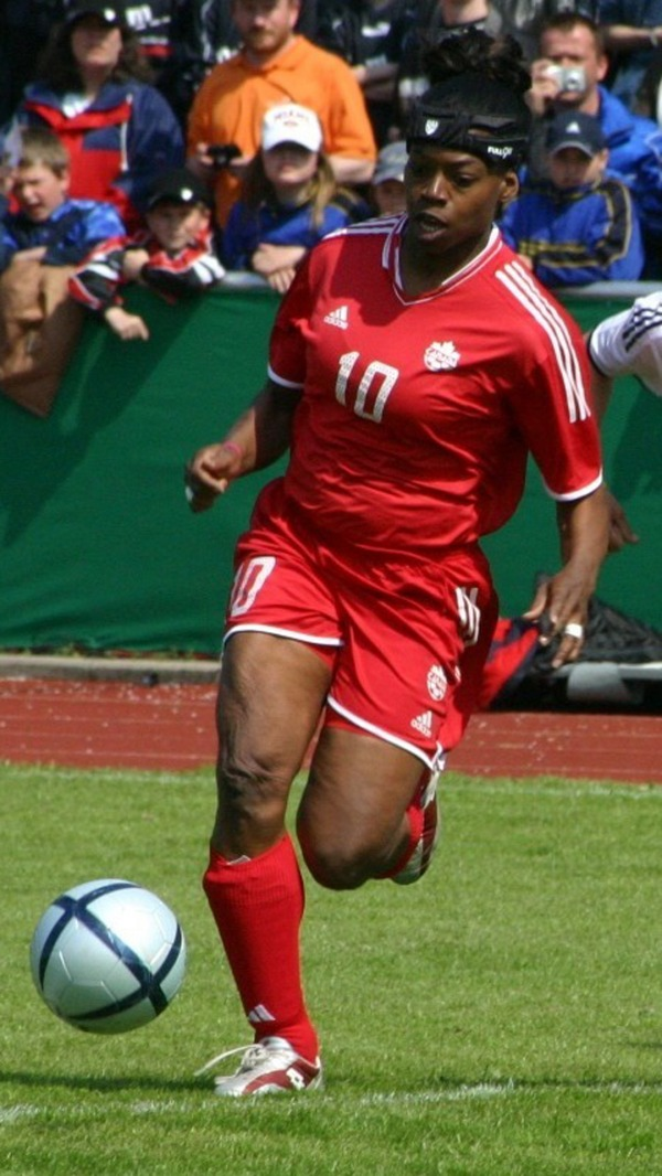 photograph of Charmaine Hooper playing soccer